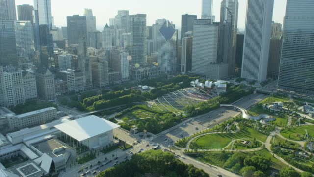 Aerial view of city skyscrapers and condominiums Chicago