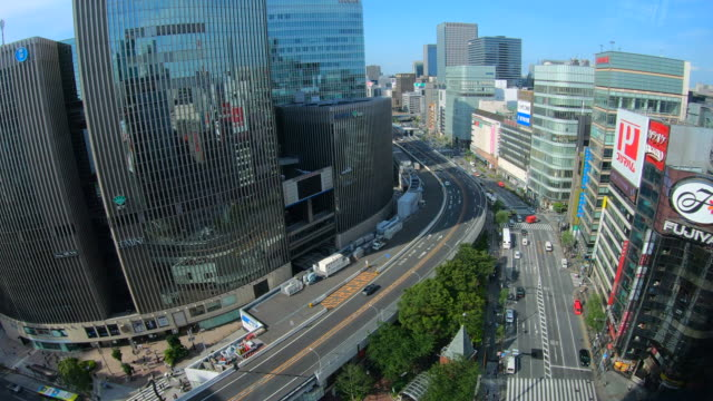aerial view of city street and buildings at ginza,tokyo - ginza stock videos & royalty-free footage