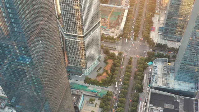 aerial view of  city traffic at sunset - lifestyles stock videos & royalty-free footage