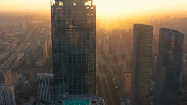 aerial view of  city traffic at sunset - district stock videos & royalty-free footage