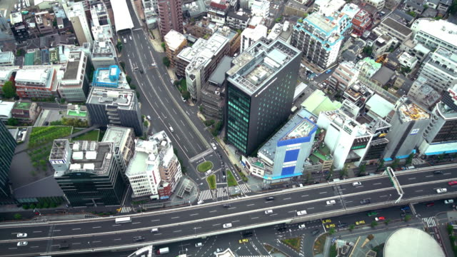 aerial view of city traffic in tokyo - roppongi stock videos and b-roll footage