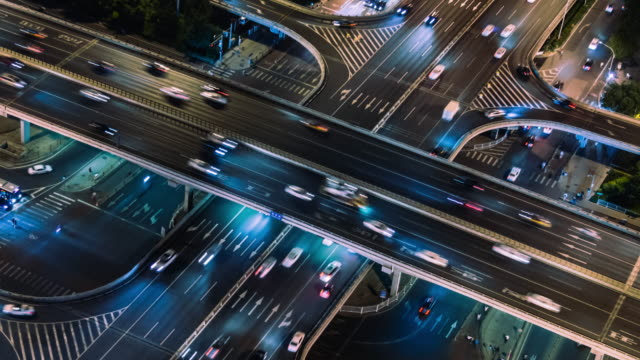 t/l ms ha pan  aerial view of city traffic of beijing at night - blockchain stock videos & royalty-free footage