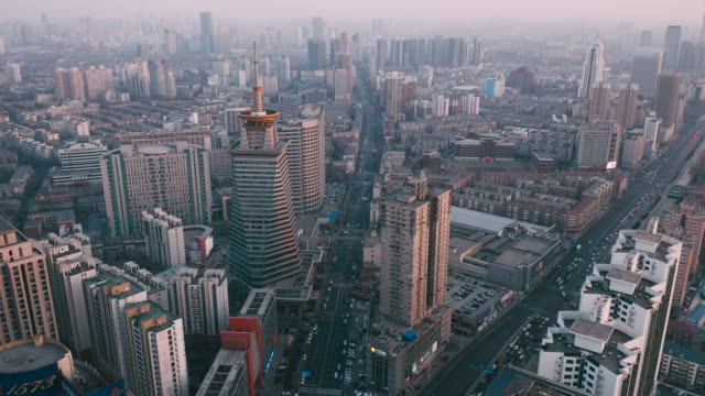 aerial view of city - tower stock videos & royalty-free footage