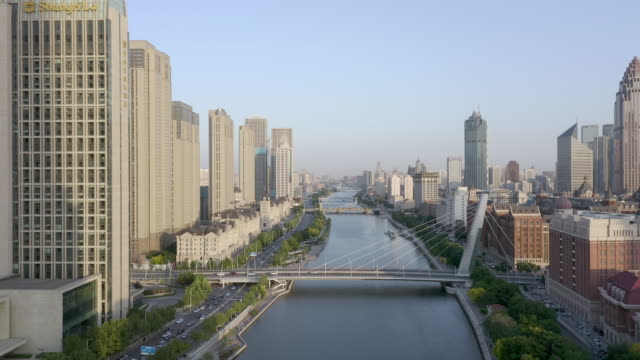 aerial view of city - hai river stock videos & royalty-free footage