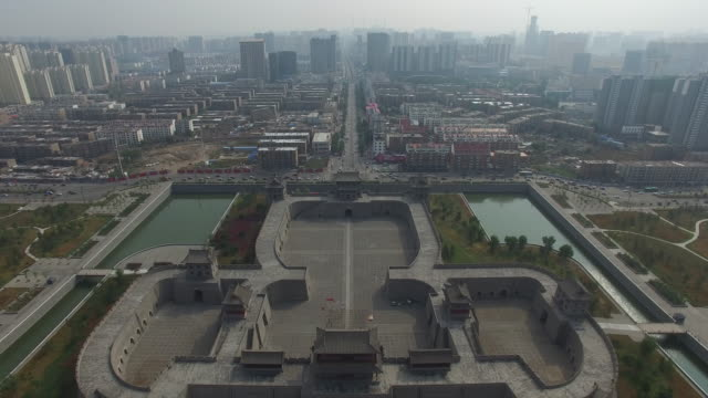 aerial view of city wall of datong city, shanxi china - moat stock videos and b-roll footage