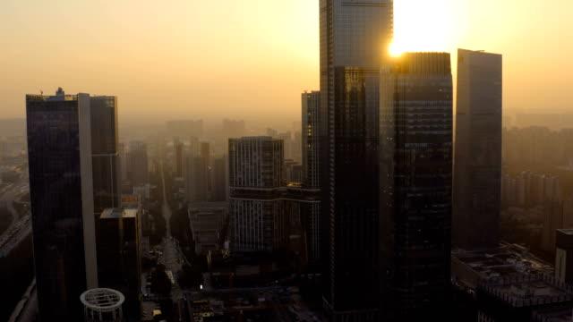 日没時のシティカスペの空中写真 - 無人航空機点の映像素材/bロール