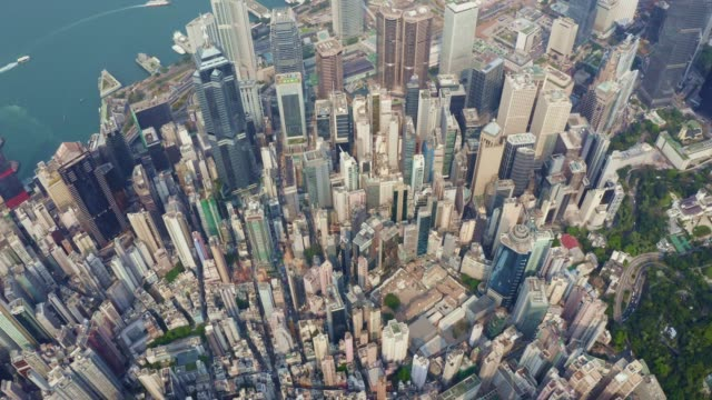 aerial view of cityscape at hong kong in china - victoria peak stock videos & royalty-free footage