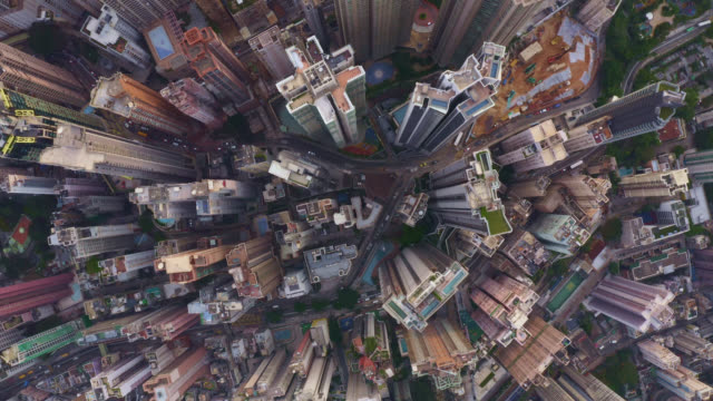aerial view of cityscape at hong kong in china - drone point of view stock videos & royalty-free footage