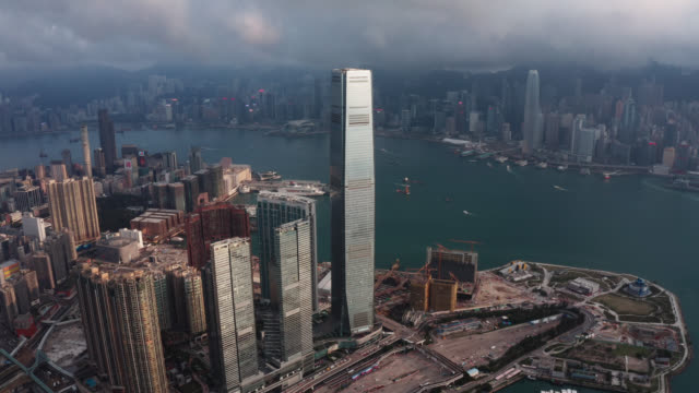 aerial view of cityscape at hong kong in china - asian chance stock videos & royalty-free footage