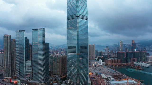 aerial view of cityscape at hong kong in china - chance stock videos & royalty-free footage