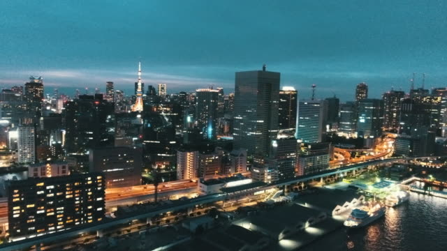 aerial view of cityscape at night - skyline stock videos & royalty-free footage