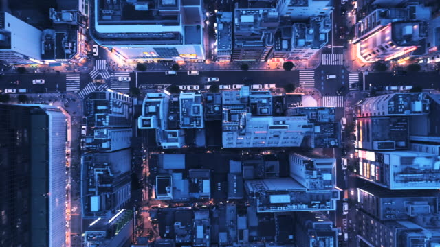 stockvideo's en b-roll-footage met aerial view of cityscape at night - vlak erboven