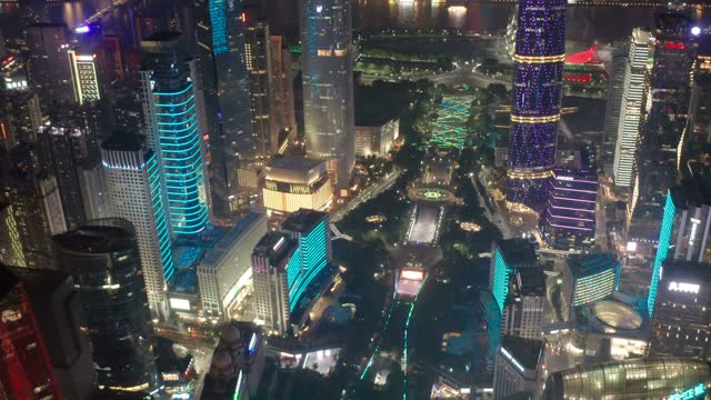 aerial view of cityscape at night - tall high stock videos & royalty-free footage