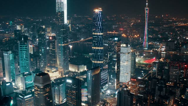 aerial view of cityscape at night - prosperity stock videos & royalty-free footage