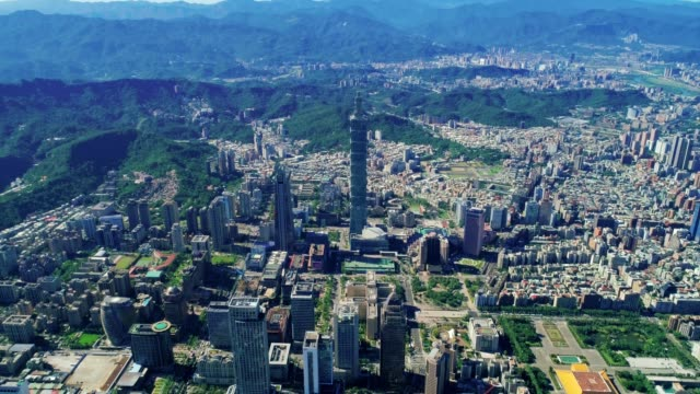 aerial view of cityscape at taipei center district, taiwan - taipei stock videos & royalty-free footage