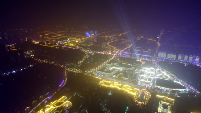 aerial view of cityscape durng chinese spring festival / xi'an, shaanxi, china - chinesisches laternenfest stock-videos und b-roll-filmmaterial