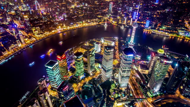 T/L WS HA ZO Aerial View of Cityscape from Shanghai Tower at Night / Shanghai, China