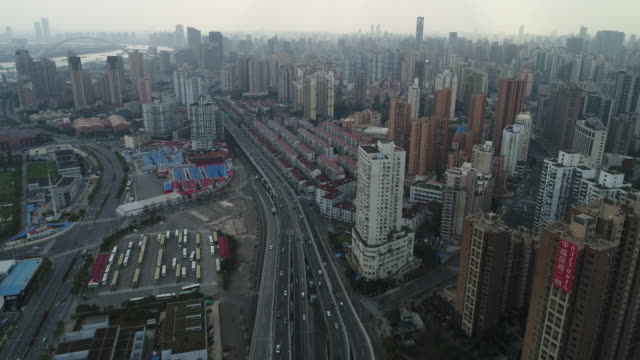 Aerial View of Cityscape in Shanghai