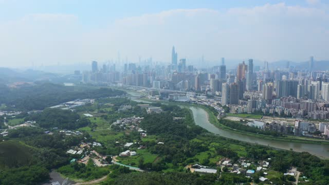 aerial view of cityscape in shenzhen city, china - lush stock videos & royalty-free footage