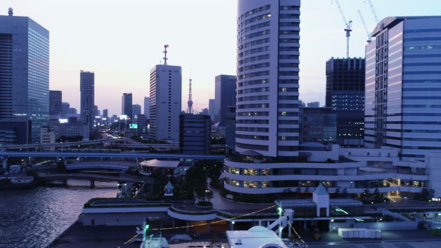 aerial view of cityscape in tokyo at dusk - panning video stock e b–roll