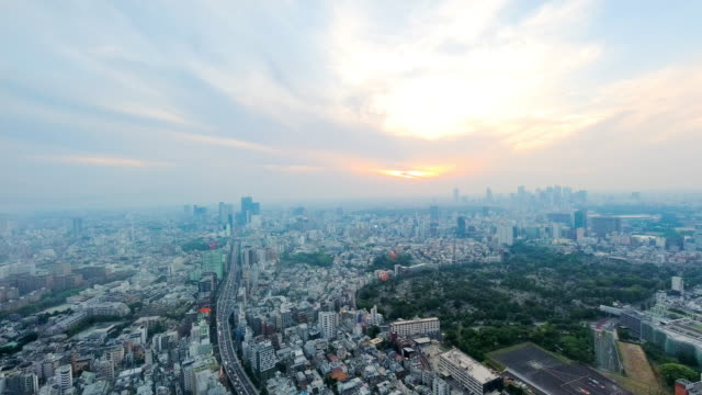 aerial view of cityscape in tokyo at dusk. - ward stock videos & royalty-free footage