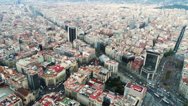 aerial view of cityscape of barcelona - geographical locations stock videos & royalty-free footage