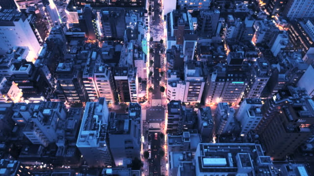 aerial view of cityscape of downtown - neon video stock e b–roll