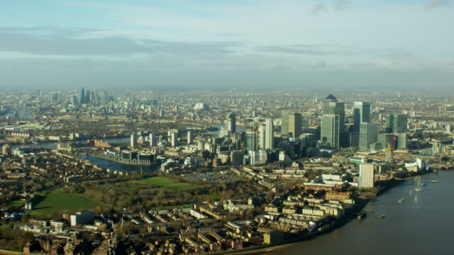 aerial view of cityscape of london uk - geographical locations stock videos & royalty-free footage