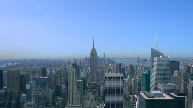 aerial view of  cityscape of manhattan - midtown manhattan stock videos & royalty-free footage