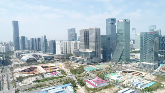 aerial view of cityscape of shenzhen - economics stock videos & royalty-free footage