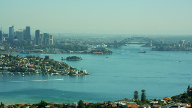 aerial view of cityscape of sydney australia - pacific war stock-videos und b-roll-filmmaterial
