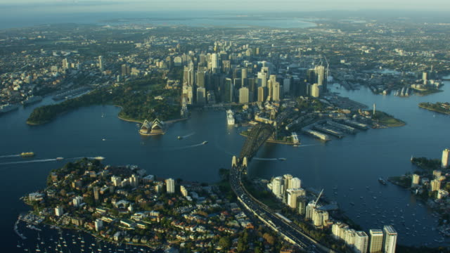 aerial view of cityscape of sydney australia - ferry stock videos & royalty-free footage