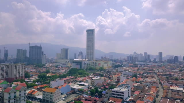 aerial view of cityscape. penang, malaysia - penang bridge stock videos and b-roll footage