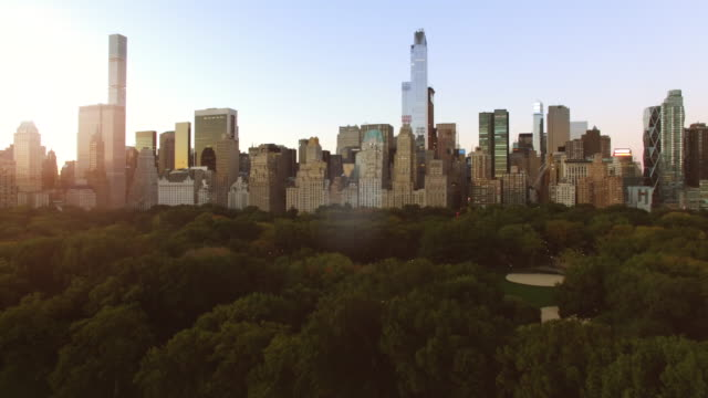 aerial view of cityscape skyline and park at sunrise - central park manhattan stock videos and b-roll footage