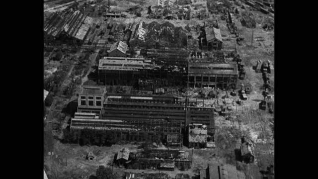aerial view of cityscape with bombed, damaged industrial buildings, korean war - aircraft point of view stock videos & royalty-free footage