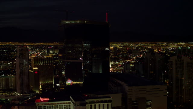 w/s aerial view of cityscape with stratosphere las vegas and fontainebleau resort - las vegas stock videos & royalty-free footage