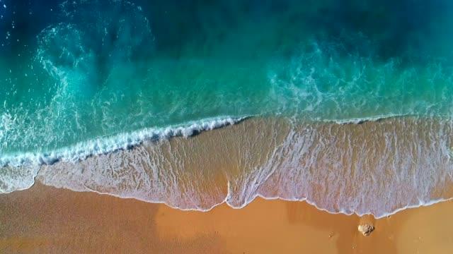 vídeos de stock, filmes e b-roll de vista aérea do mar turquesa claro e ondas - praia de bondi