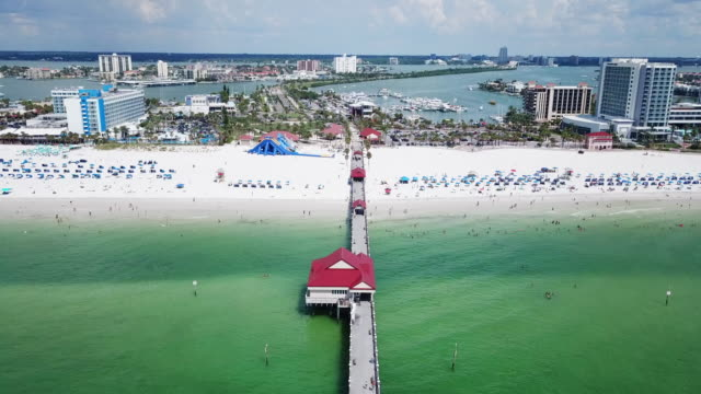 aerial view of clearwater beachfront & marina - florida usa stock videos and b-roll footage