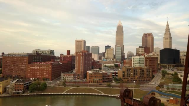 aerial view of cleveland ohio skyline from a bridge - cleveland ohio stock videos & royalty-free footage