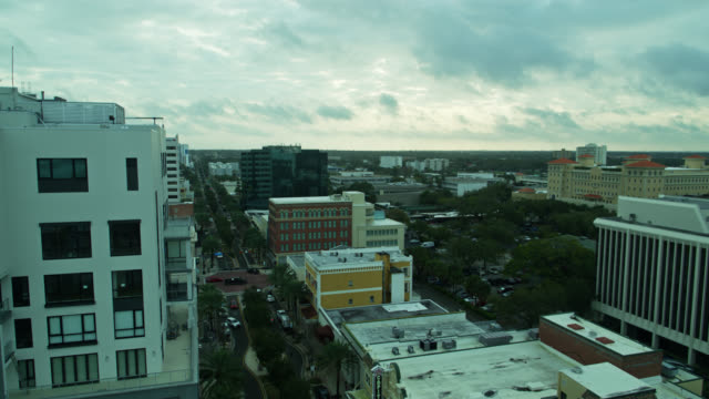 aerial view of cleveland st, downtown clearwater, florida - gulf of mexico stock videos & royalty-free footage