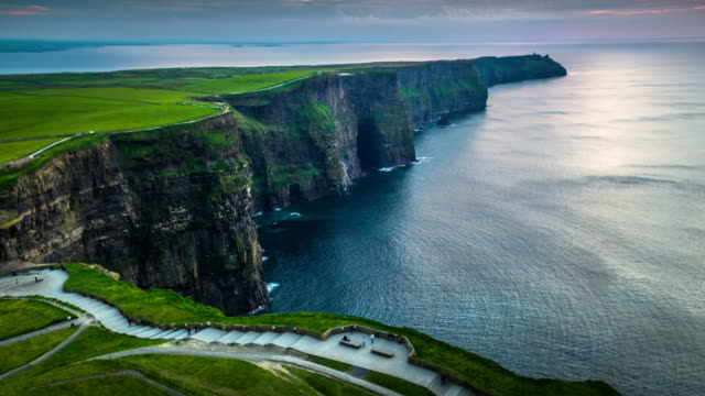 Aerial view of Cliffs of Moher in Ireland