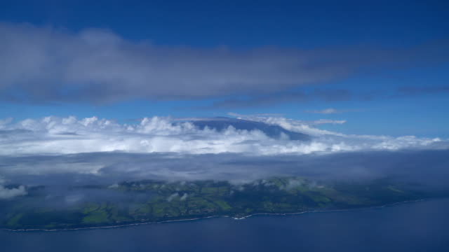 aerial view of cloudscape and mauna kea above big island - big island hawaii islands stock videos & royalty-free footage