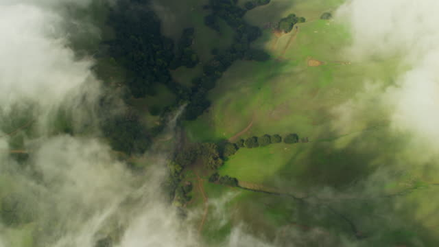 Aerial view of cloudscape over Napa Valley California