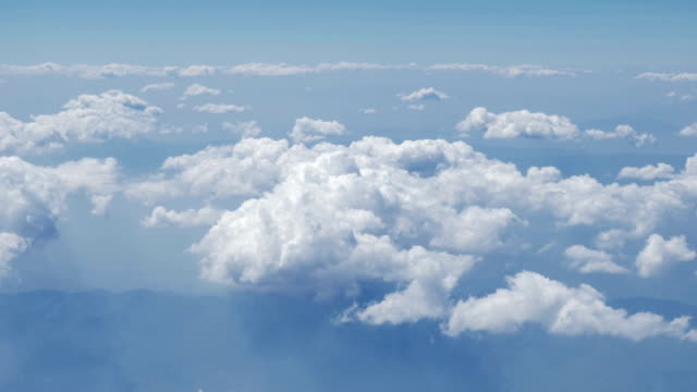 Aerial view of clouds,rivers,mountains from airplane,Thailand