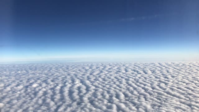 aerial view of cloudy and blue sky when airplane flying - altocumulus stock videos and b-roll footage