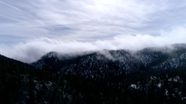 aerial view of cloudy mountains in angeles national forest arcadia california - angeles national forest stock videos and b-roll footage
