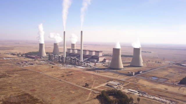 aerial view of coal fired power plant - tower stock videos & royalty-free footage