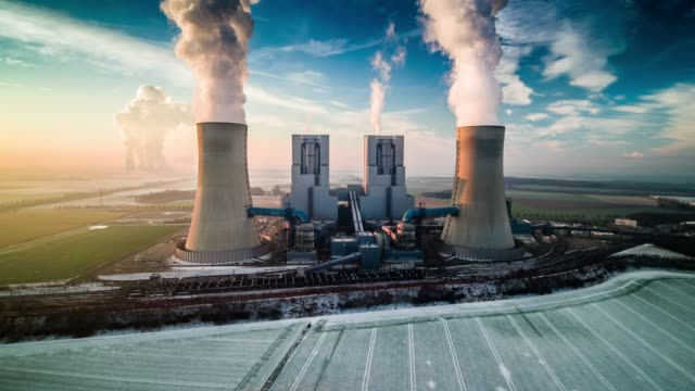 aerial view of coal-fired power plant - coal stock videos & royalty-free footage