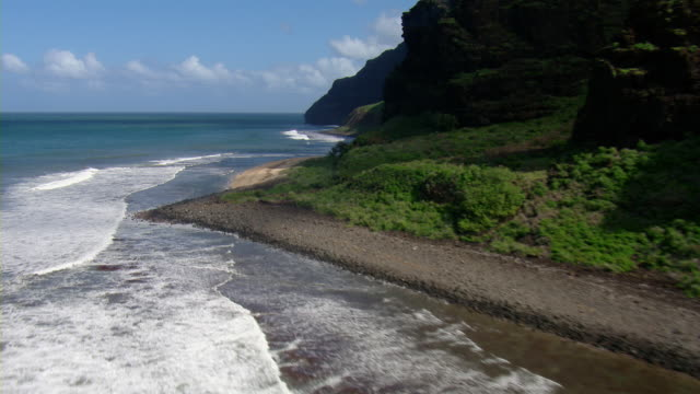 Aerial view of coastal cliffs of Milolii State Park on the Hawaiian Island of Kauai.