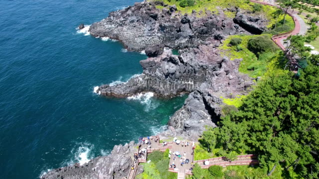 Aerial view of Coastal Feature of Columnar joints (Korea Natural Monument 443) in Daepo-dong